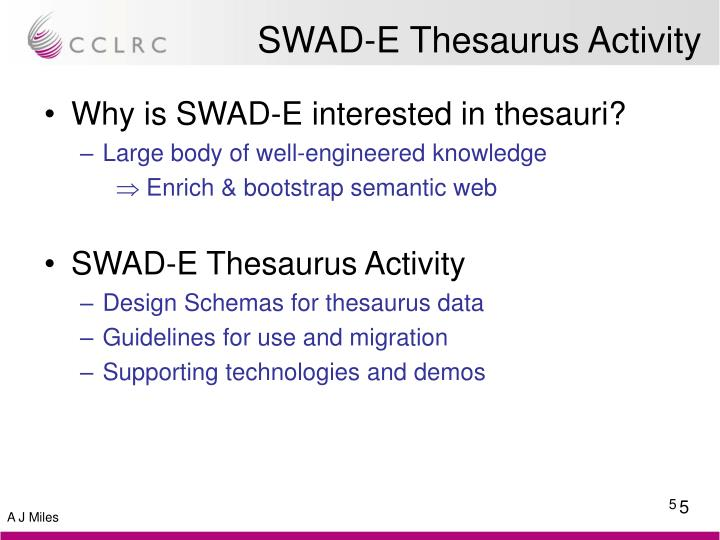 SWAD-E Thesaurus Activity