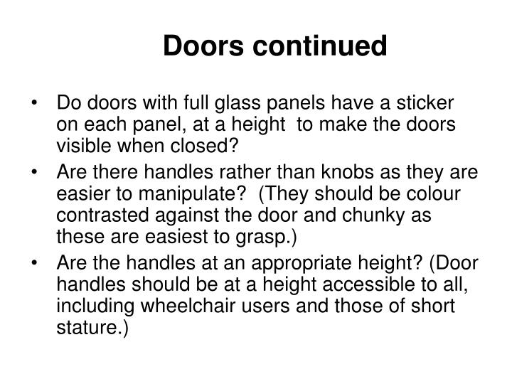 Doors continued