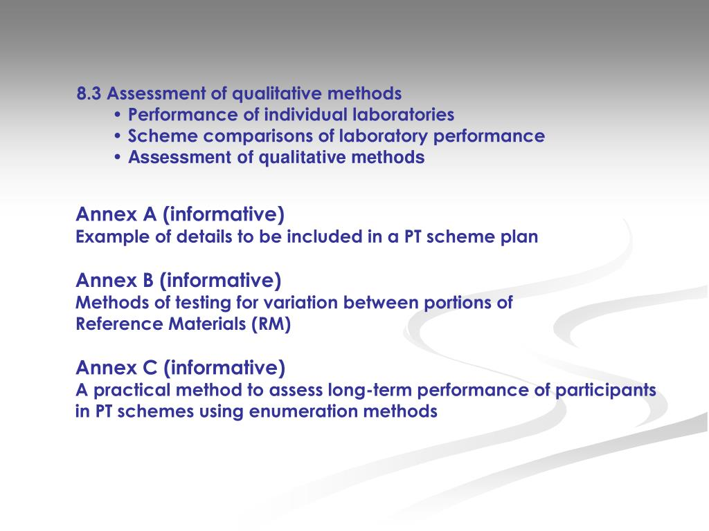 8.3 Assessment of qualitative methods