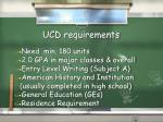 ucd requirements