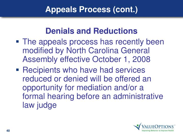 Appeals Process (cont.)