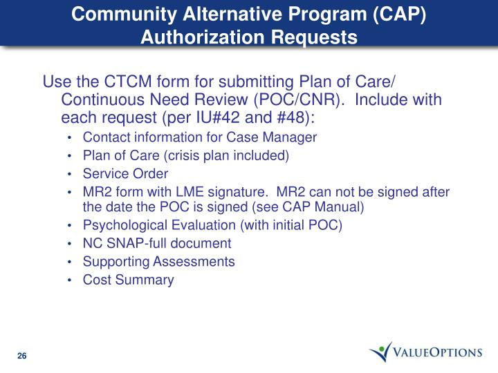 Community Alternative Program (CAP) Authorization Requests