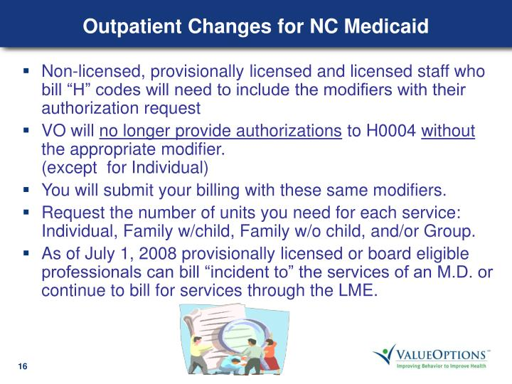 Outpatient Changes for NC Medicaid