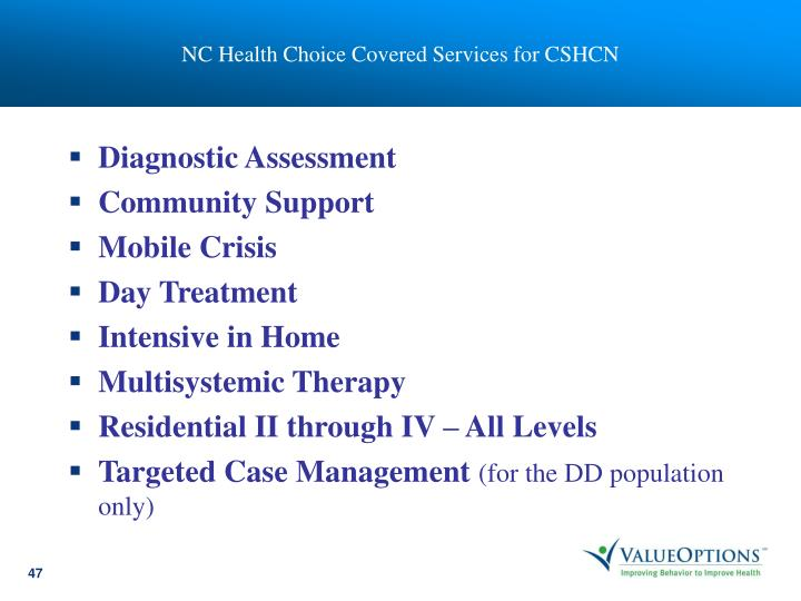 NC Health Choice Covered Services for CSHCN