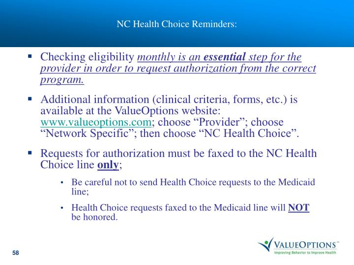 NC Health Choice Reminders: