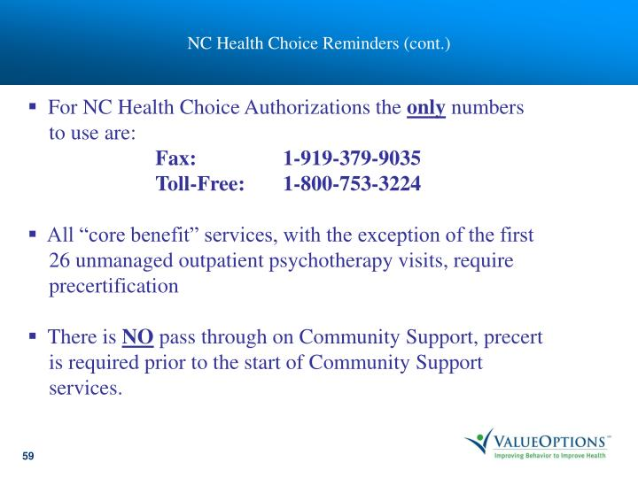 NC Health Choice Reminders (cont.)