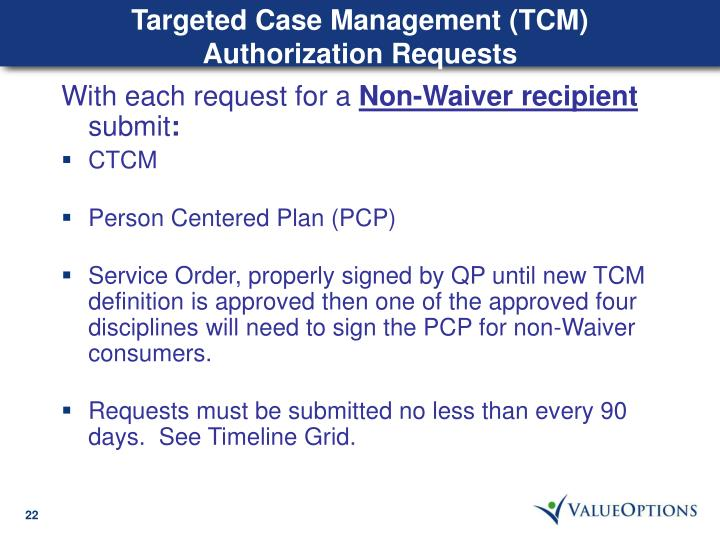 Targeted Case Management (TCM) Authorization Requests