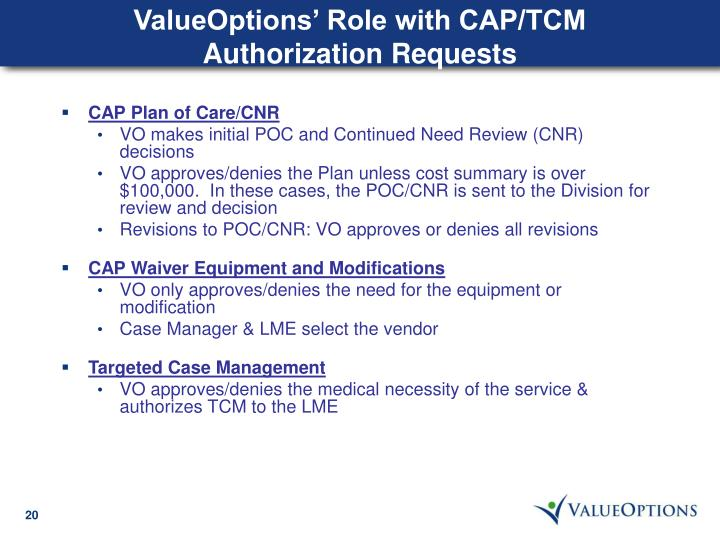 ValueOptions' Role with CAP/TCM Authorization Requests