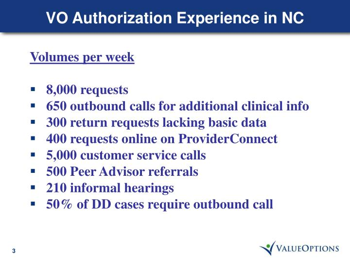 VO Authorization Experience in NC