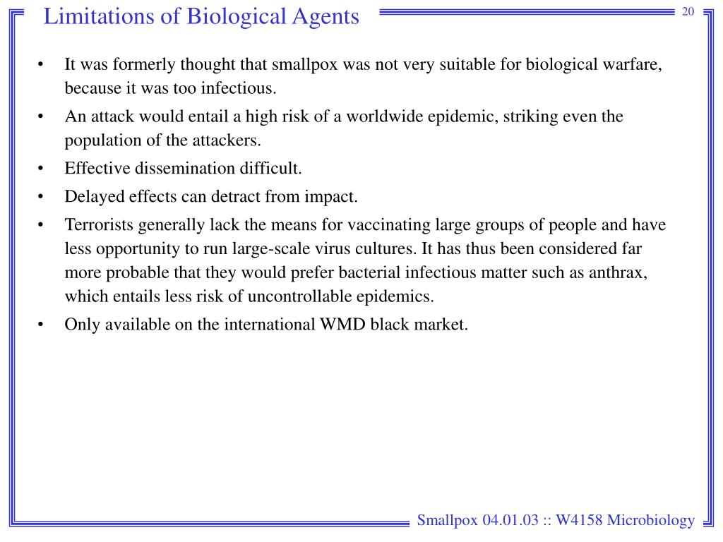 Limitations of Biological Agents