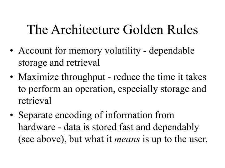 The Architecture Golden Rules