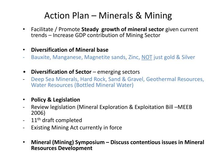 Action Plan – Minerals & Mining