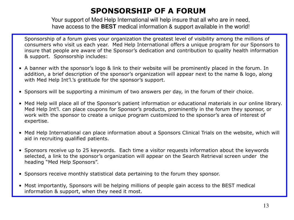 SPONSORSHIP OF A FORUM
