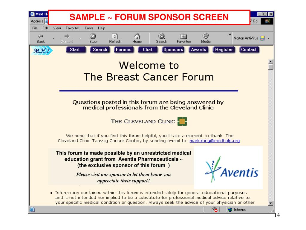 SAMPLE ~ FORUM SPONSOR SCREEN