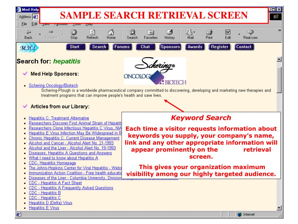 SAMPLE SEARCH RETRIEVAL SCREEN