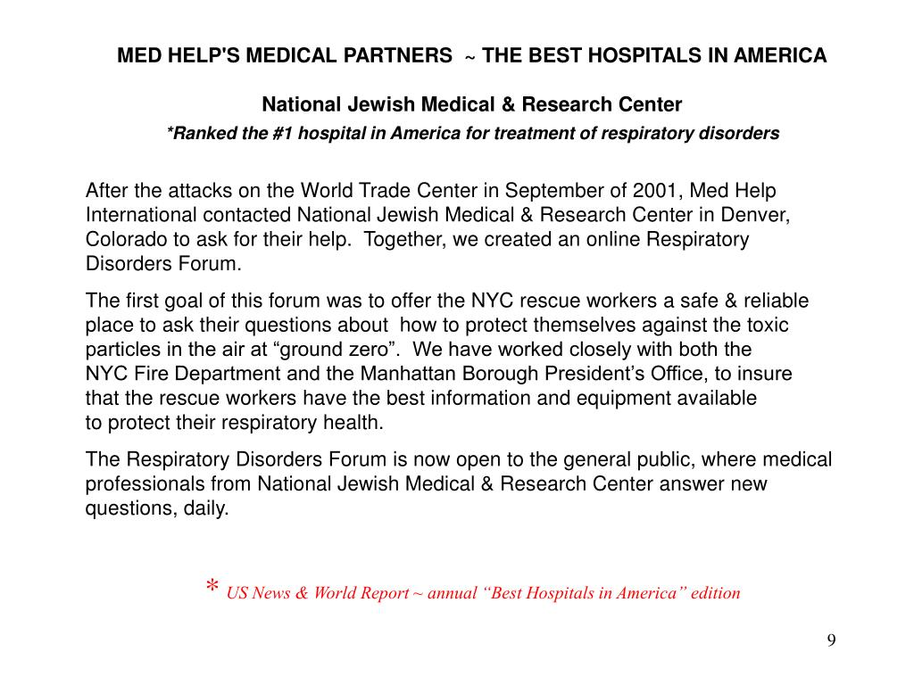 MED HELP'S MEDICAL PARTNERS  ~ THE BEST HOSPITALS IN AMERICA