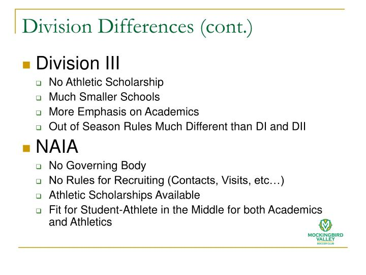 Division Differences (cont.)