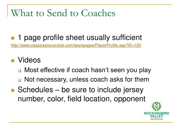 What to Send to Coaches