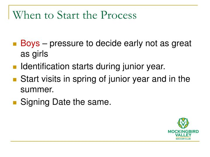 When to Start the Process