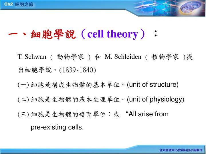 一、細胞學說