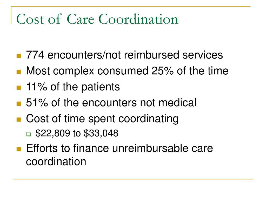 Cost of Care Coordination