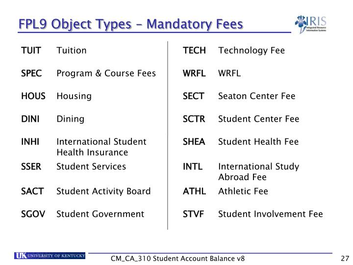 FPL9 Object Types – Mandatory Fees