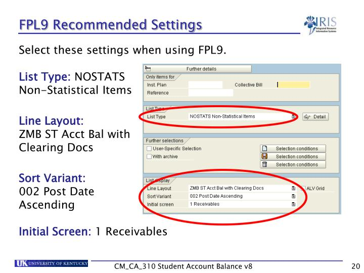 FPL9 Recommended Settings