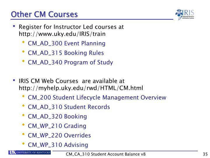 Other CM Courses