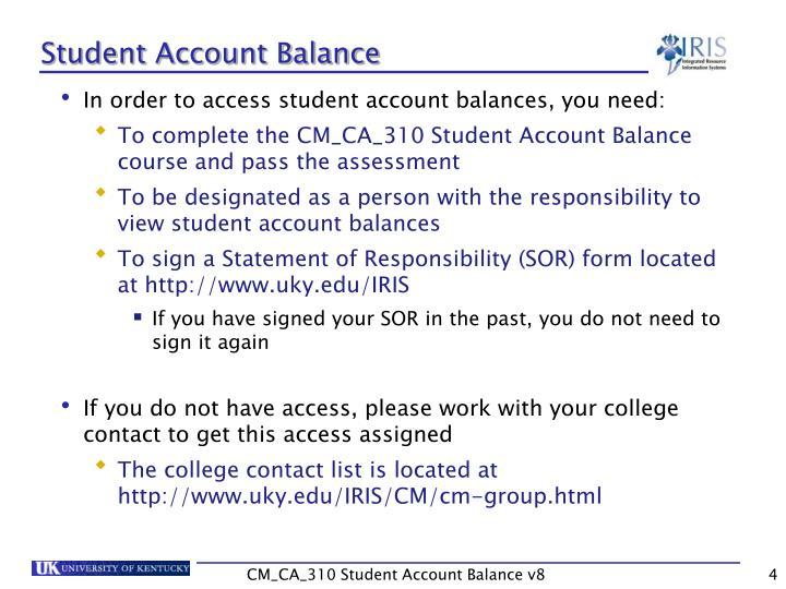 Student Account Balance