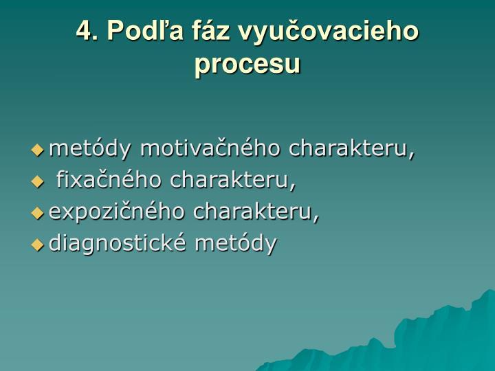 4. Podľa fáz vyučovacieho procesu