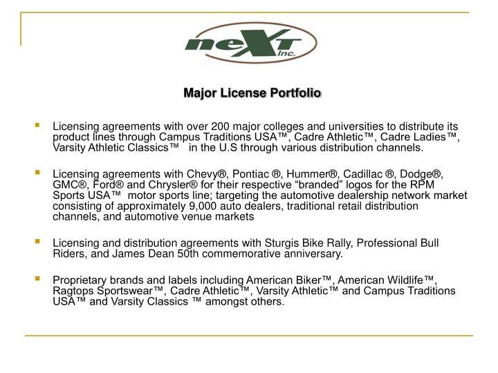 Major License Portfolio