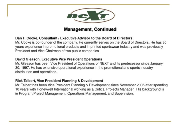 Management, Continued