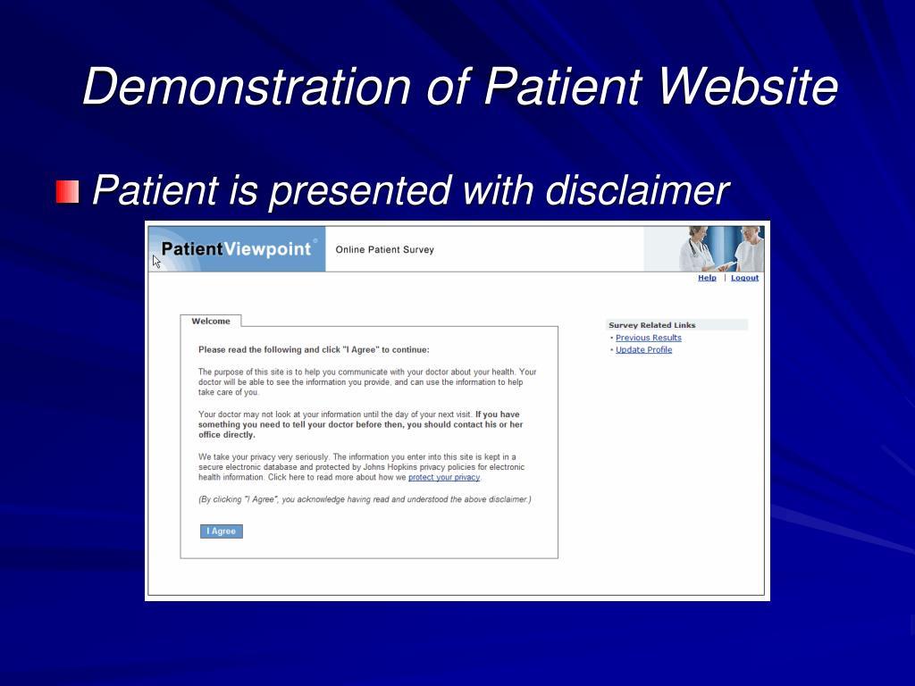 Demonstration of Patient Website