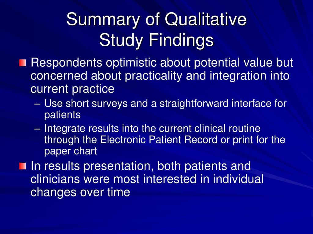 Summary of Qualitative