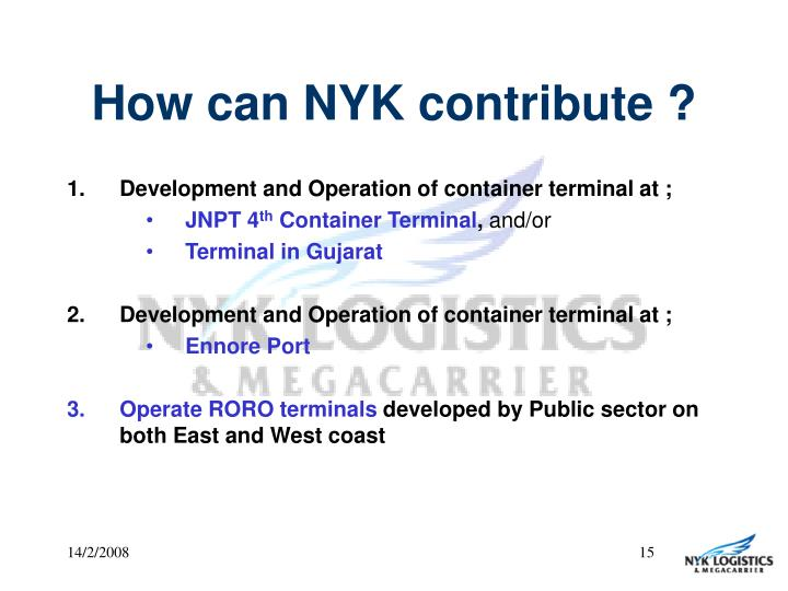 How can NYK contribute ?