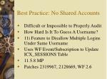 best practice no shared accounts