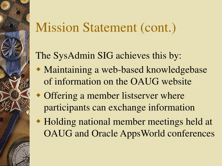 Mission Statement (cont.)