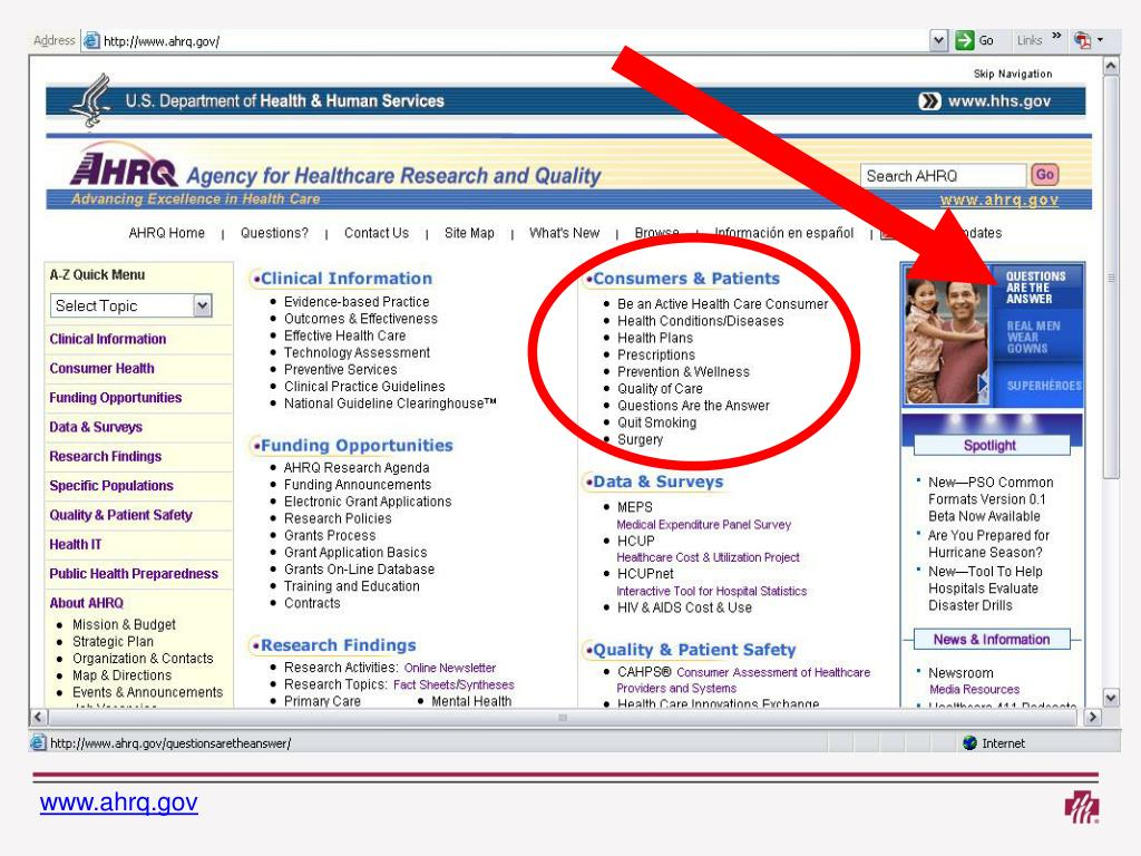 The AHRQ Web site