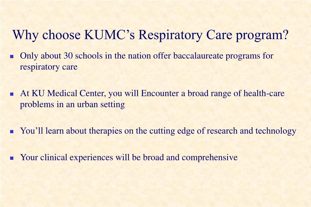 Why choose KUMC's Respiratory Care program?