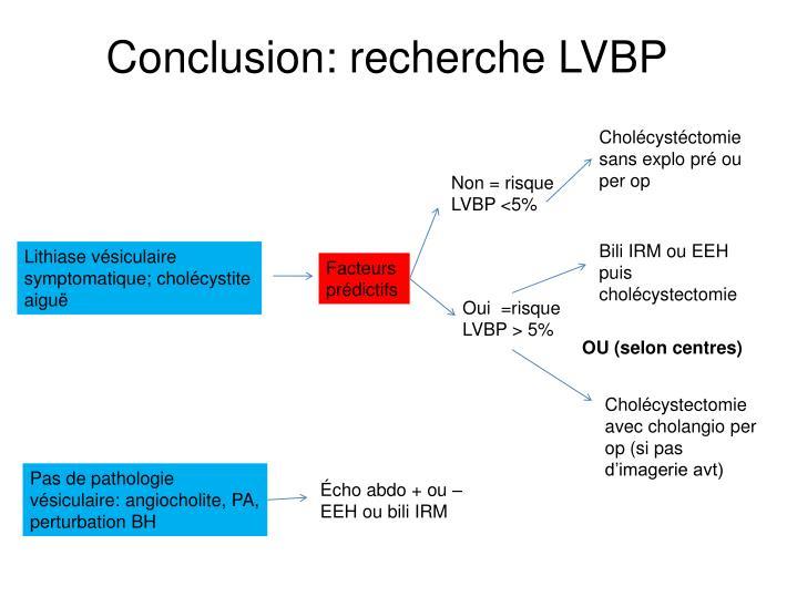 Conclusion: recherche LVBP