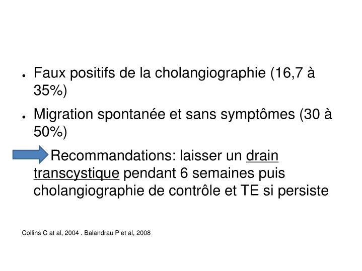 Faux positifs de la cholangiographie (16,7 à 35%)