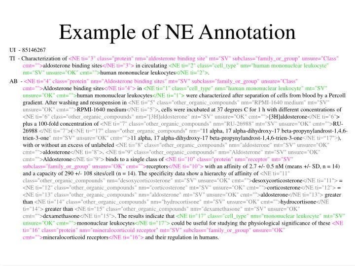 Example of NE Annotation