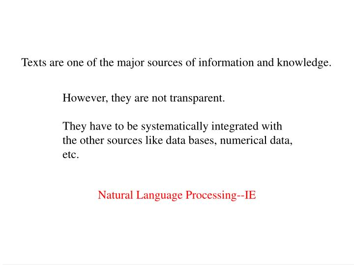 Texts are one of the major sources of information and knowledge.