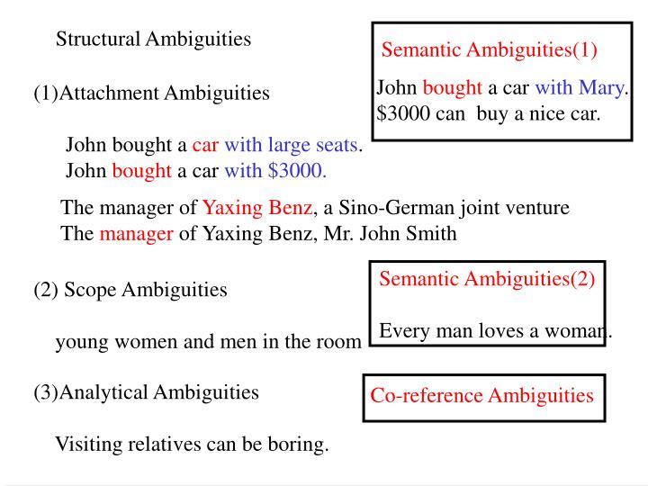 Semantic Ambiguities(1)