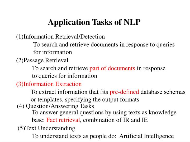 Application Tasks of NLP