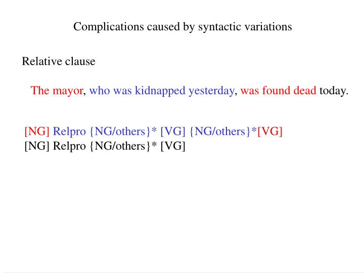 Complications caused by syntactic variations