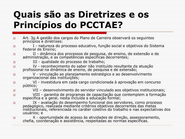 Quais são as Diretrizes e os Princípios do PCCTAE?