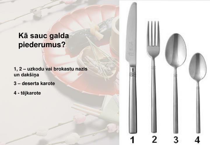 Kā sauc galda piederumus?