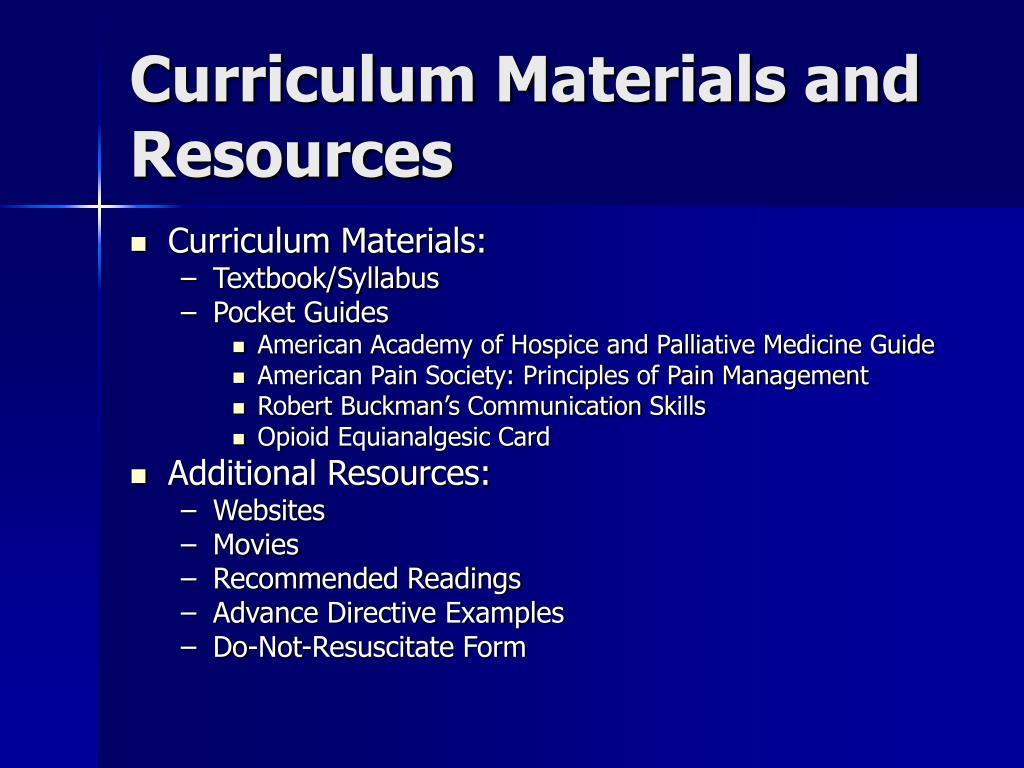Curriculum Materials and Resources