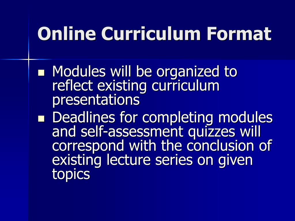 Online Curriculum Format